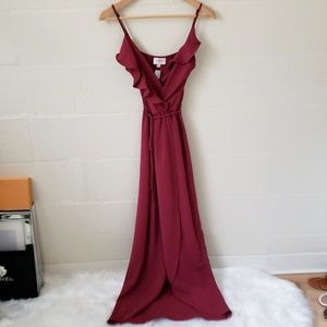 Everly Ruffly Tulip Faux Wrap Maxi Dress
